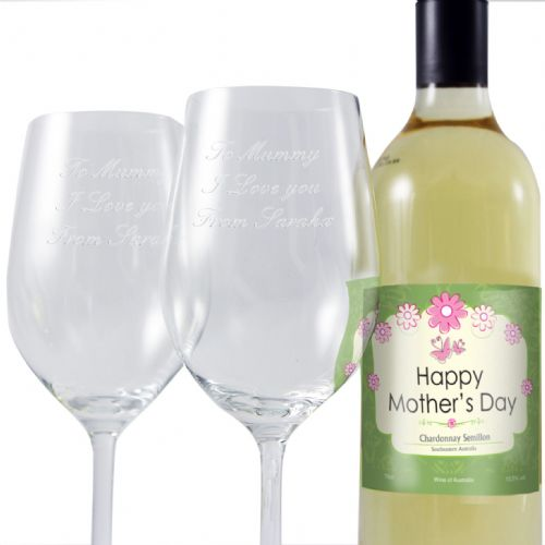 Personalised Mothers White Wine and Two Glasses